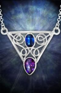 Intricate Sterling Silver Artistry weaves around two stunningly Faceted precious Gemstones. This original Handmade 50 Carat Necklace holds a sapphire blue Kyanite Facet and a lusciously purple Amethyst Crystal. Amethyst and Kyanite create a harmonious energy which works to help one trust in their own intuition and strengthen their spiritual lives.http://www.arkadiancollection.com/product/sterling-silver-kyanite-amethyst-crystal-necklace