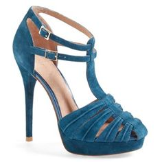 "New Joie platform heels New Joie turquoise heels in suede. Super comfortable!! Featuring a t-strap with adjustable double buckle closures, a 5"" heel and a 1"" platform.  *Style Runs Small. Best fits size 6.5-7. Joie Shoes Heels"