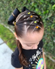 Little Mixed Girl Hairstyles, Baby Girl Hairstyles, Easy Toddler Hairstyles, Kids Braided Hairstyles, Girls Hairdos, Wacky Hair, Middle Hair, Hair Dos, Hair Styles