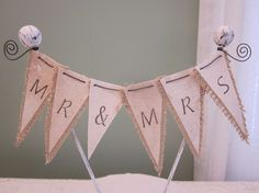 Burlap Wedding Cake Topper by Thequirkycorncrib on Etsy, $21.00