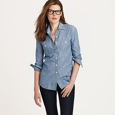 jcrew selvedge chambray shirt {the only chambray shirt my boobs and my body proportionally fit in so i am waiting for it to hit sale}