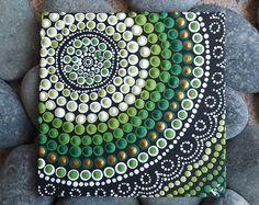 """Authentiek Australische Aboriginal Dot kunst schilderij, forestontwerp, Acryl schilderij, van Raechel Saunders, Biripi Art, 4 """"x 4"""", groen decor"""