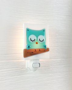 Luz nocturna buho turquesa vidrio fusión bebé por VeilleSurToi