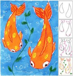 Koi Fish- point of view   1. Students started with drawing the fish body on the right, then the one on the left.  2. Tails and eyes were added.  3. Fins were added on the sides, along with some curvy weeds.  4. All pencil lines were traced with crayon. Any spots on the fish were colored in, as well as the inside of the leaves. Lines for bubbles were drawn with a white crayon.  5. Students painted the fish with Orange liquid watercolor paint, and the background with Turquoise blue. 5th