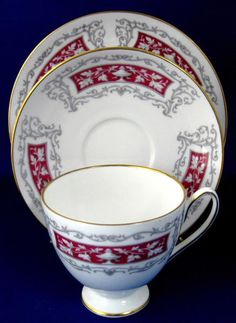 This is a Shelley China, England teacup trio or cup and saucer with matching plate made by in the Blenheim pattern #14259 in the rarely seen but elegant Carlisl