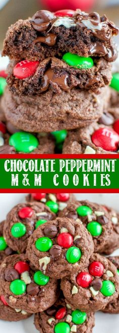 Chewy, Gooey Chocolate Peppermint M&M Cookies Recipe Easy Christmas Cookie Recipes, Christmas Desserts, Christmas Treats, Holiday Recipes, Winter Recipes, Holiday Treats, Christmas Biscuits, Christmas Stuff, Christmas Holiday