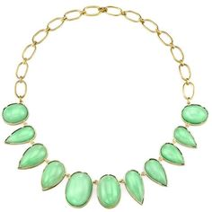 Irene Neuwirth Mixed Mint Chrysoprase Stone Necklace - Yellow Gold ❤ liked on Polyvore