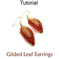 Gilded Leaf Earrings Russian Leaves Beaded Fall Earrings Beading Pattern Tutorial