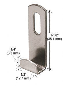 "CRL Nickel Plated 3/8"" Slotted Round Lip Mirror Clips Pack of 100 by CR Laurence by CR Laurence. $23.91. Channel Size: 3/8"" (10 mm) Color: Nickel Plated Height: 1-1/2"" (38.1 mm) 1/4"" (6.3 mm) Width: 1/2"" (12.7 mm) Available in Three Sizes Attractive and Adjustable Rust Resistant These CRL Slotted Round Lip Mirror Clips were designed with a slotted back to allow for height adjustments. Fabricated from 16 gauge nickel plated steel, the clip is 1/2 inch (12.7 millimeters) wide and 1..."