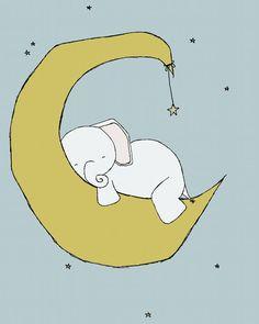 Elephant Nursery Art Print Nursery Decor by SweetMelodyDesigns