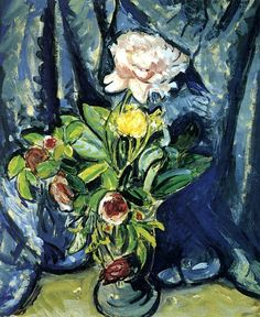 Flowers Against a Blue Drape Alfred Henry Maurer - 1926
