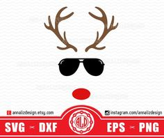 Reindeer with sunglasses svg, Reindeer face svg, Christmas reindeer svg, Red nosed reindeer svg, Rud Christmas Svg, Christmas Shirts, Christmas Humor, Reindeer Antlers, Red Nosed Reindeer, Personalized Gifts For Kids, Baby Svg, Silhouette Designer Edition, Amazing Gardens