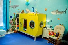 Big kids room, special bed. Under the Sea, ocean theme, submarine. Yellow submarine. Murals.