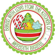 So excited - I just ordered these from ETSY for my Christmas Yumminess gifts but Changed the wording a bit.  Bowl Of Christmas Cookies Kitchen Stickers  by partyINK