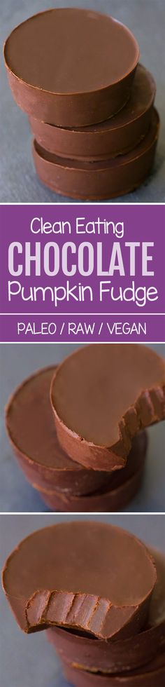 Clean Eating Chocolate Pumpkin Fudge – from @choccoveredkt… 1/2 cup canned pumpkin, 1/4 cup cocoa powder, 1/4 cup… Full recipe: https://chocolatecoveredkatie.com/2015/10/08/chocolate-pumpkin-fudge-vegan-6-ingredients/