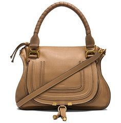 """Small marcie bag by Chloe. Calfskin leather with cotton canvas fabric lining and gold-tone hardware.  Made in Italy.  Measures approx 14.5""""""""W x ..."""