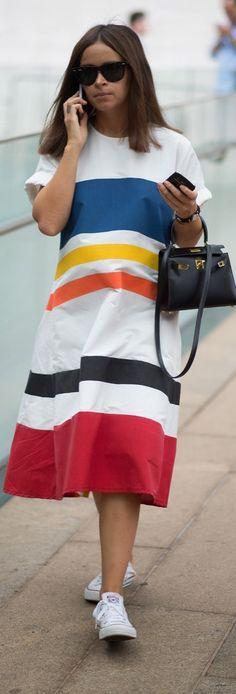 Style inspiration CFDA Award-winning Fashion designer Rosie Assouline: Miroslava Duma caught our eye in a bold striped dress during New York Fashion Week in September 2014.