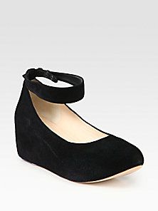 Chloé - Suede Ankle Strap Wedge Pumps