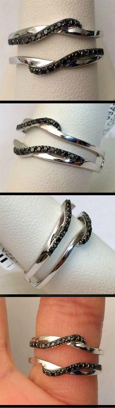10kt White Gold Wave Design Solitaire Enhancer Black Diamonds Ring Guard Wrap Insert (0.20ctw)...(RG321438435805).! Price: $305.99 #gold #diamonds #ringguard #wrap #enhancer #fashion #jewelry #love #gift