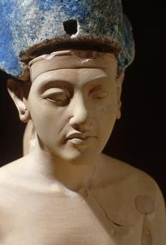 Egypt, Akhenaton (Amenophi IV); 18th dynasty (1364 – 1347 BC). Head of a standing figure of Akhenaton.