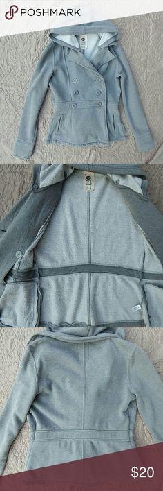 Gray Roxy Jersey Knit Fleece Lined Pea Coat Jersey knit. Fleece lined. Super soft and warm! Clinched waist. Removable hood. Roxy Jackets & Coats Pea Coats