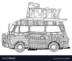 VW Kombi doodle retro bus zentangle Boho style designed by yazzik on Fotolia Pattern Coloring Pages, Colouring Pages, Adult Coloring Pages, Coloring Books, Coloring Sheets, Retro Bus, Zentangle, Car Drawings, Cartoon Drawings