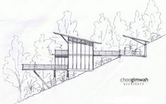 Casa Deck / Choo Gim Wah Architect The Deck House / Choo Gim Wah Architect – Plataforma Arquitectura Architecture Design, Architecture Drawings, Cliff House, House On A Hill, House Sketch, House Drawing, Building A Deck, Building Design, Houses On Slopes