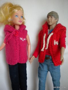 trendy hoodies for barbie and her boy band friend (he seems to have taken over from Ken)  Free pattern on Ravelry