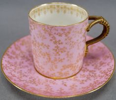 Antique GDM Limoges Gold Gilt Fern Leaves and Pink Demitasse Coffee tea Cup and Saucer Set, Circa 1882 - Cup And Saucer Set, Tea Cup Saucer, English Tea Cups, Pink Cups, Antique Dishes, China Tea Cups, My Cup Of Tea, Tea Service, China Dinnerware
