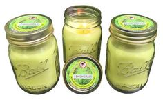 Natural LEMONGRASS Mosquito Repellent Candle - (SET OF 3) Deet Free - Naturally Repels Insects with Essential Oils - Indoor / Outdoor - Decorative Ball Mason Jar - Yard Pest Control - MADE IN USA
