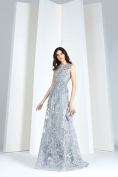 Tony Ward RTW I Silver grey dress in sequined lace, with a tulle overskirt. Grey Evening Dresses, Lace Evening Gowns, Nice Dresses, Formal Dresses, Long Dresses, Silver Grey Dress, Grey Gown, Silver Gown, Couture Dresses