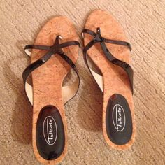 Black sandals. Talbots black sandals with a tiny heel. Pre-worn in fair to good condition. Talbots Shoes Sandals