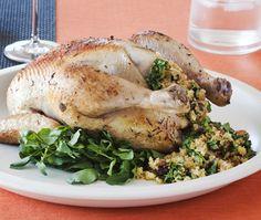 Roast Chicken With Watercress & Cornbread Stuffing Recipe