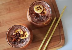 Kaffree Roma Nutty Banana Smoothie recipe - power smoothie made with caffeine free Kaffree Roma, nut butter, bananas, chia and more.