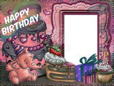 ® Colección de Gifs ®: MARCOS PARA FOTOS DE CUMPLEAÑOS Happy Birthday Blue, Happy Birthday Frame, Happy Birthday Photos, Birthday Frames, Happy Birthday Messages, Photo Bookmarks, Happy Anniversary Cakes, Party Frame, Birthday Photo Frame