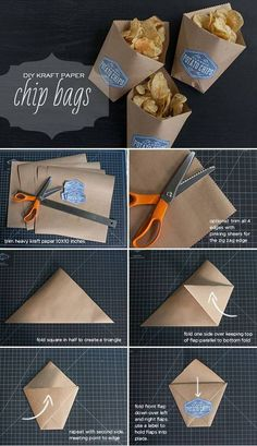 Paper DIY Snack Bags for Summer Parties is part of Diy snack bag - Make these adorable DIY snack bags from kraft paper to hold your chips or other party treats Great for little fingers to hold their goodies as they eat! Diy Kraft Bags, Kino Party, Kraft Paper Wedding, Papier Diy, Diy Snacks, Snacks Ideas, Chip Bags, Snack Bags, Treat Bags