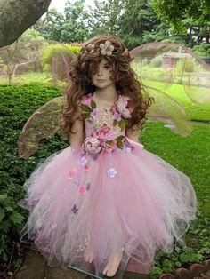 Ethereal Earth Gaia Fairy costume dress, romantic leaves flower fairy dress, fairy birthday dress, f Princess Tutu Dresses, Flower Girl Dresses, Costumes Avec Tutu, Fairy Costumes, Robe Diy, Rose Beige, Fairy Clothes, Fairy Birthday, Fairy Dress