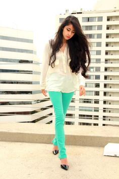 I am in love with sheer blouses... and the color of these jeans!