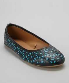 Loving this Black & Turquoise Perforated Flat on #zulily! #zulilyfinds
