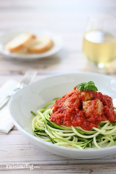 Zucchini pasta  turkey meatballs - Check out Raisin  Fig for a Spiralizer giveaway!!!