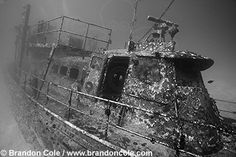 Shipwreck photos, Pictures of sunken ship wrecks, high resolution stock underwater pictures, Brandon Cole Marine Photography.