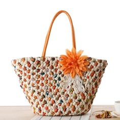 BOHO CLASSIC KITTY GIRL 2018 Bohemian New Flowers Straw Knitted Bag