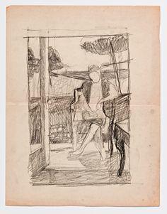 Diebenkorn, Graphite on paper, Drawing from Sketchbook # 06 [figure in landscape,