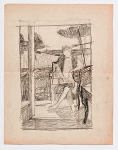 Diebenkorn, Graphite on paper, Drawing from Sketchbook # 06 [figure in landscape,