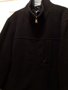 Mens Calvin Klein Wool Blend Black coat double zipper warm size Large #CalvinKlein #BasicCoat
