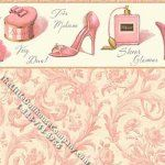 Pink Boudoir Scroll Pattern Miniature Wallpaper for Dollhouses