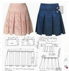 Faldas talle bajo Skirt Patterns Sewing, Sewing Patterns Free, Clothing Patterns, Sewing Clothes, Diy Clothes, Clothes For Women, Pleated Skirt Tutorial, Baby Sewing Projects, Dress Tutorials
