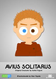 """AVIUS SOLITARUS"", original character by Suihei Yugure. #VectorDoodle by Glen Tripollo"