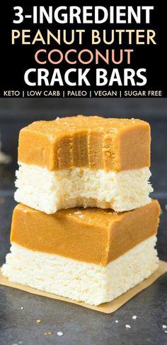 3-Ingredient No Bake Peanut Butter Coconut Crack Bars (Paleo, Vegan, Keto, Sugar Free, Gluten Free)-An Easy, healthy and seriously addictive no bake peanut butter coconut bars recipe using just 3 ingredients and needing 5 minutes! A delicious ketogenic dessert or snack! #keto #ketodessert #coconut #peanutbutter #ketosisrecipe #nobake | Recipe on thebigmansworld.com