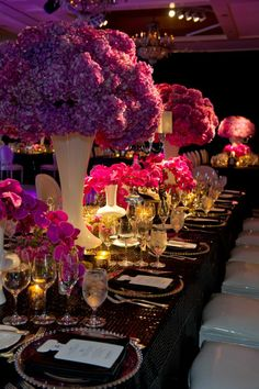 Black and white with impressive floral displays in shades of pink and fuchsia <3